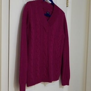 Talbots raspberry colored cable knit sweater